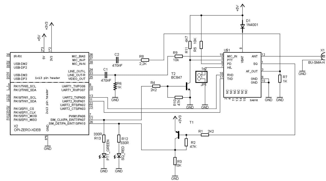 Schema electronica SA818 SVX RoLink
